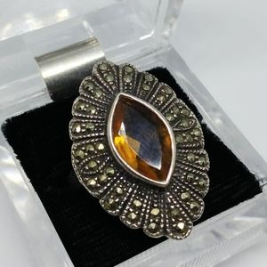 Citrine Stone Marcasite Sterling Silver Ring